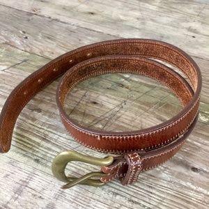 Eddie Bauer belt brown leather brass buckle 1 inch